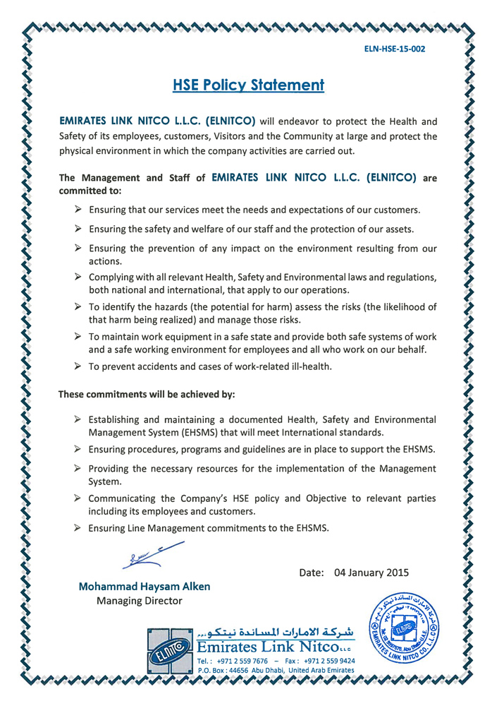 HSE Policy - Emirates Link Nitco LLC